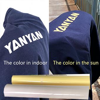 Light sensitive change colors heat transfer vinyl
